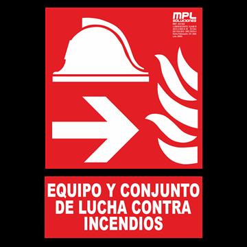 Señal: Equipo y conjunto de lucha contra incendios izquierda