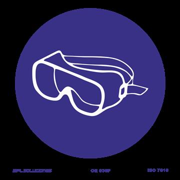 Señal: Uso obligatorio de gafas antisalpicadura