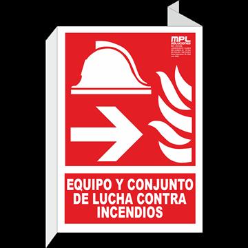 Banderola: Equipo y conjunto de lucha contra incendios izquierda