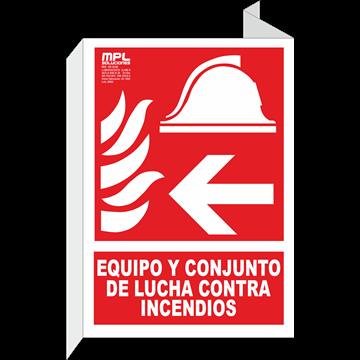 Banderola: Equipo y conjunto de lucha contra incendios derecha