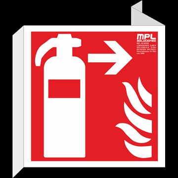 Banderola cuadrada: Extintor de incendios derecha