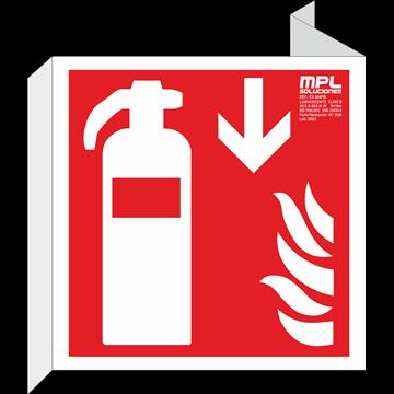 Banderola cuadrada: Extintor de incendios abajo