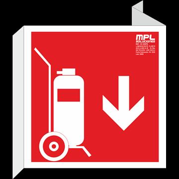 Banderola cuadrada: Carro extintor abajo