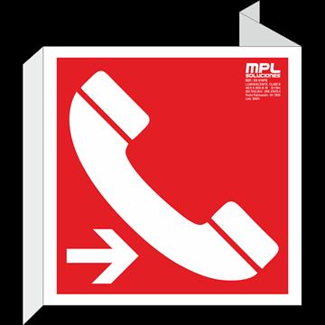 Banderola cuadrada: Telefono de emergencia derecha