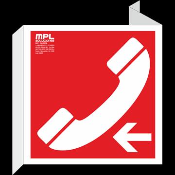 Banderola cuadrada: Telefono de emergencia izquierda