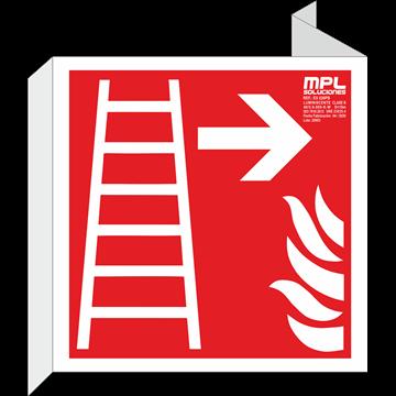 Banderola cuadrada: Escalera de emergencia derecha