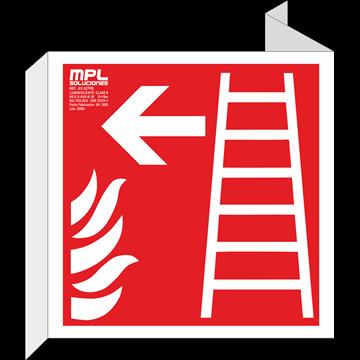 Banderola cuadrada: Escalera de emergencia izquierda
