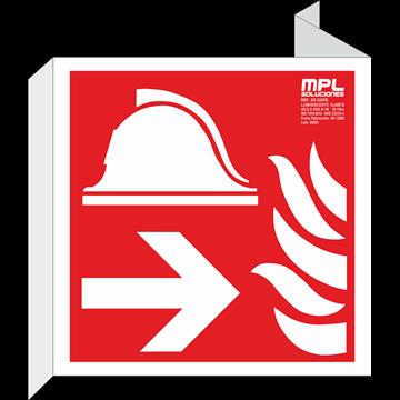 Banderola cuadrada: Equipo y conjunto de lucha contra incendios izquierda