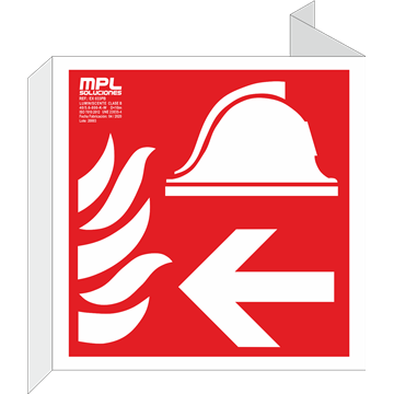 Banderola cuadrada: Equipo y conjunto de lucha contra incendios derecha