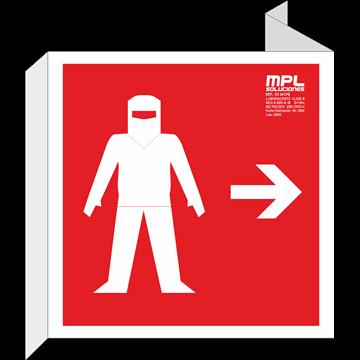 Banderola cuadrada: Traje ignifugo izquierda