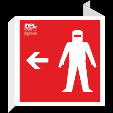 Banderola cuadrada: Traje ignifugo derecha