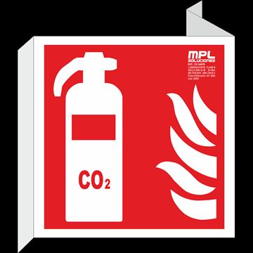 Banderola cuadrada: EXTINTOR CO2 RIESGO ELECTRICO