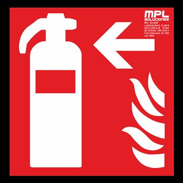 Señal cuadrada: Extintor de incendios izquierda