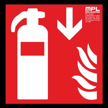 Señal cuadrada: Extintor de incendios abajo