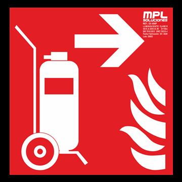 Señal cuadrada: Carro extintor derecha