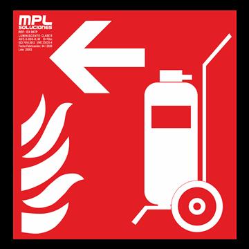 Señal cuadrada: Carro extintor izquierda