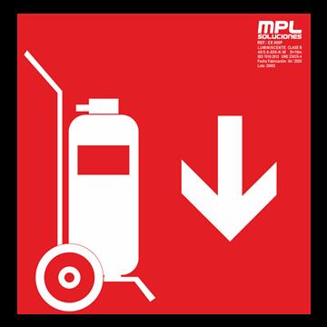 Señal cuadrada: Carro extintor abajo