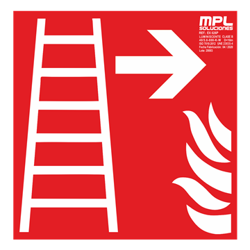 Señal cuadrada: Escalera de emergencia derecha