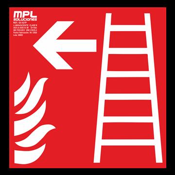 Señal cuadrada: Escalera de emergencia izquierda