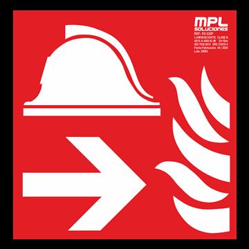 Señal cuadrada: Equipo y conjunto de lucha contra incendios izquierda
