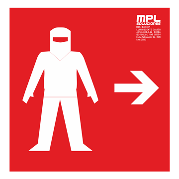 Señal cuadrada: Traje ignifugo izquierda