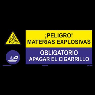 SEÑAL: MATERIAS EXPLOSIVAS - APAGAR EL CIGARRILLO