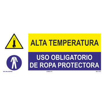 SEÑAL: ALTA TEMPERATURA - USO DE ROPA PROTECTORA