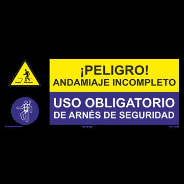 SEÑAL: ANDAMIAJE INCOMPLETO - USO DE ARNÉS DE SEGURIDAD