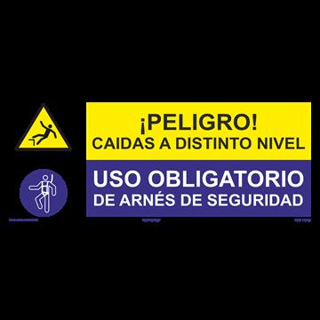 SEÑAL: CAIDAS A DISTINTO NIVEL - USO DE ARNÉS DE SEGURIDAD