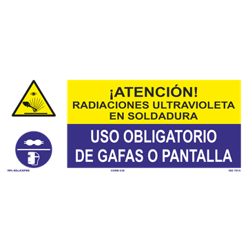 SEÑAL: READIACIONES ULTRAVIOLETA - USO DE GAFAS O PANTALLA