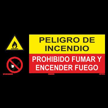 SEÑAL: INCENDIO - PROHIBIDO FUMAR Y ENCENDER FUEGO