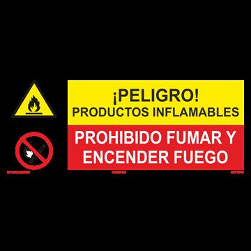SEÑAL: PRODUCTOS INFLAMABLES - PROHIBIDO FUMAR Y ENCENDER FUEGO