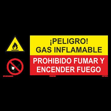 SEÑAL: GAS INFLEMABLE - PROHIBIDO FUMAR Y ENCENDER FUEGO