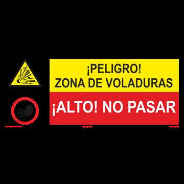 SEÑAL: ZONA DE VOLADURAS - NO PASAR