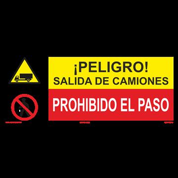 SEÑAL: SALIDA DE CAMIONES - PROHIBIDO EL PASO