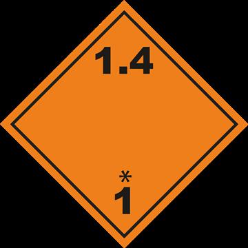 Señal Clase1 adhesiva materias y Objetos Explosivos.(1.4)
