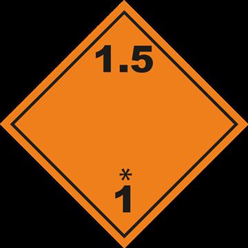 Señal Clase1 adhesiva materias y Objetos Explosivos.(1.5)