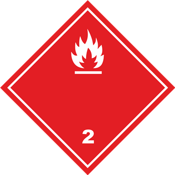 Señal Clase 2 adhesiva gases no Inflamables.