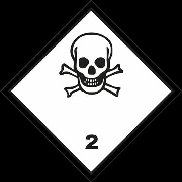 Señal Clase 2 adhesiva gases Tóxicos.