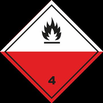 Señal Clase 4 adhesiva materias espontáneamente inflamables.