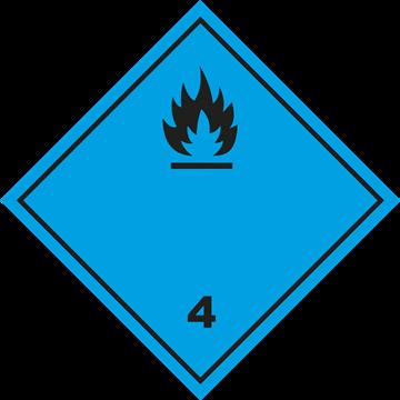 Señal Clase 4 adhesiva materias que al contacto con el agua desprenden gases