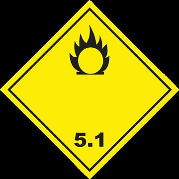 Señal Clase 5 adhesiva materias Comburentes.