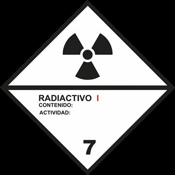 Señal Clase 7 adhesiva materias radioactivas I.