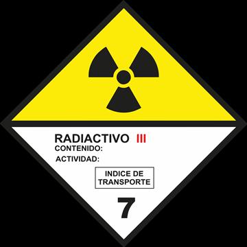 Señal Clase 7 adhesiva materias radioactivas III.