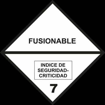 Señal Clase 7 adhesiva materias Fusionables.