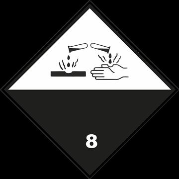 Señal Clase 8 adhesiva materias corrosivas.