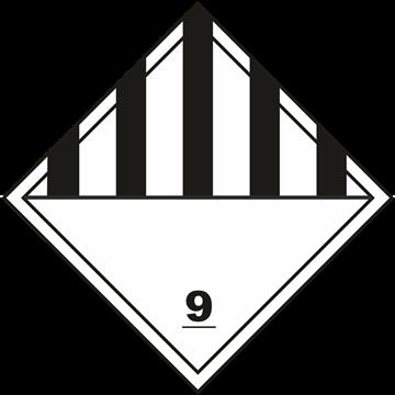 Señal Clase 9 adhesiva materias y objetos peligrosos diversos.