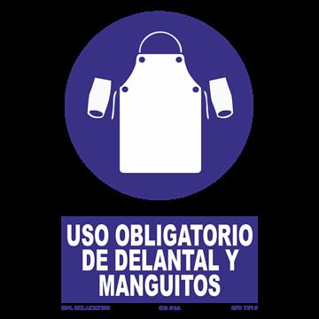 Señal: Uso obligatorio de delantal y manguitos
