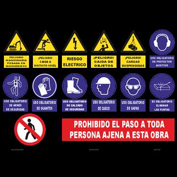 CARTEL DE OBRA HORIZONTAL VARIOS PICTOGRAMAS
