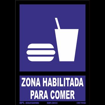 Señal: Modelo: Zona habilitada para comer